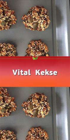Kekse & Plätzchen Rezepte Vital biscuits - healthy, energetic and delicious. For 20 pieces. Over 108 Heart Healthy Desserts, Healthy Cookie Recipes, Healthy Baking, Dessert Simple, Snacks To Make, Easy Snacks, Summer Desserts, Easy Desserts, Desserts Sains