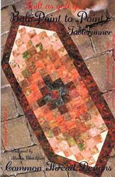 """Bali Point to Point Table Runner Pattern, Strip Quilt as You Go, Finished Size 18.5"""" x 44"""", Batik & Jelly Roll Bali Pop Friendly"""