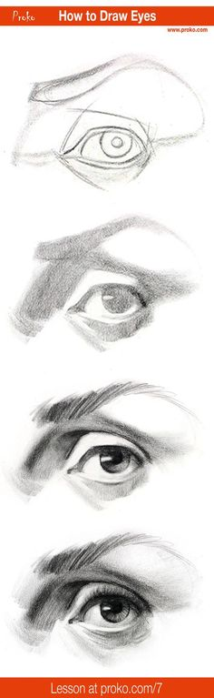 Draw realistic eyes with this step-by-step instruction. Full drawing lesson at proko.com/7: