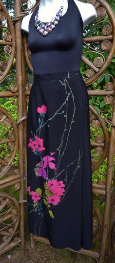 Beautiful straight maxi skirt black with hot by LamplightGifts