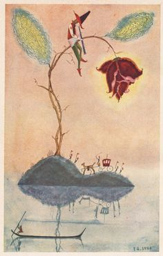 From the 1926 children's book King Ramu-ramu (ラムラム王). Illustrated by Takeo Takei - 50 Watts
