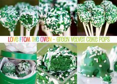 Green cake pops for St Pattys Day- Cute!