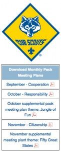 Cub Scout Pack Meeting ideas - monthly themes