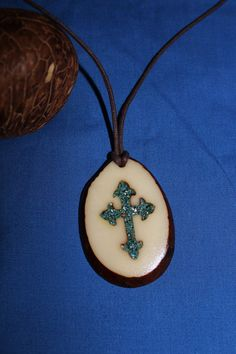 Inlaid Cross Tagua Nut Necklace by CarvingRogerWolford on Etsy, $28.00