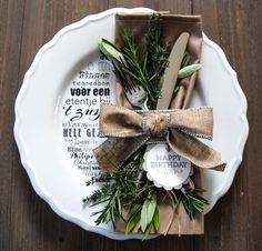 dinner cheque - buy a plate, fork&knife, take some herbs from the garden and stick it to the plate and there you are!