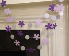 Sofia The First inspired Birthday Garland Purple Flowers paper garland  Sofia The First Birthday Party Decoration Custom Colors 10ft