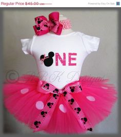 Birthday Minnie Mouse Inspired Tutu Set/outfit With Matching Hair Bow and Headband; Minnie Mouse Birthday Outfit, 1st Birthday Tutu, Minnie Mouse Party, 1st Birthday Parties, Girl Birthday, Birthday Ideas, Mouse Outfit, Aaliyah Birthday, Mickey Mouse
