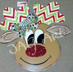 Items similar to Glitter nosed REINDEER door hanger with bow on Etsy Christmas Door, Christmas Stuff, Christmas Holidays, Christmas Ideas, Christmas Crafts, Christmas Decorations, Xmas, Wooden Door Hangers, Wooden Doors