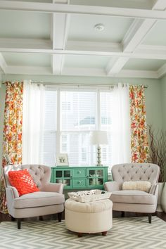 Sources Paint Color - Sea Salt by Sherwin-Williams Lamps, Ottoman, Mini-hutch - HomeGoods Chairs - Overstock.com Curtains - World Market Rug - Pottery Barn Tray - Pier One Vase - Anthropologie Tiered Shelf - Joss and Main