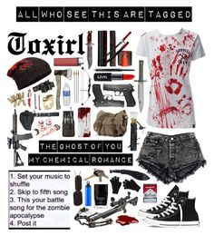 """""""Zombie Apocalypse"""" by toxirl ❤ liked on Polyvore featuring Converse, RIFLE, Jack Black, Holster, rag & bone, Case-Mate, Mary Kay, NYX, Rip Curl and Revolver"""