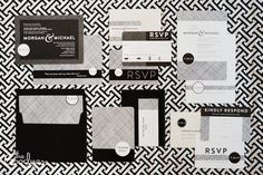 Black and white modern invitation suite, reception invite,and thank you card designed by The Goodness