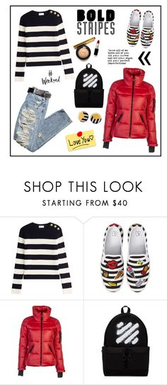"""Bold Stripes!"" by diane1234 ❤ liked on Polyvore featuring RED Valentino, BP., SAM., Off-White and Tiffany & Co."