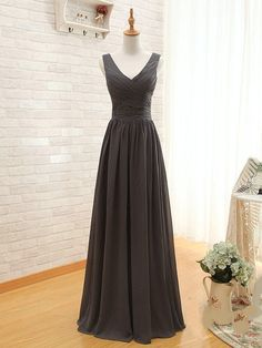 Spaghetti Strap V-Neck A-Line Wedding Party Dress Elegant Long Dark Gray Prom Dresse Formal Evening Dresses 2014 Bridesmaid Dress