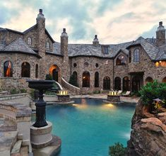 These 10 Dream Pools Will Inspire Your Ultimate Landscape Makeover - Dream house rooms - Dream Home Design, Modern House Design, My Dream Home, Stone Mansion, Dream Mansion, Luxury Homes Dream Houses, Modern Mansion, Modern Castle House, Traditional Exterior