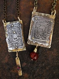 RICHARD SALLEY - LASTING IMPRESSIONS - PENDANTS & EARRINGS. Great inspiration. I want to make something similar out of antiqued embossed paper.