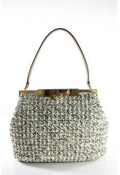 a83e5fc6cc6c Dolce   Gabbana White Straw Knit Gold Tone Kiss Lock Satchel Handbag EVHB