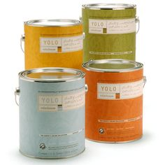 Yolo Colorhouse - no-VOC, non-toxic, low-odor paint. Sold at Home Depot.