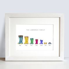 Personalised family name Welly boot print   PERSONALISED GIFTS, FRAMED, PRINTS, CHILDREN, WEDDINGS, NURSERY