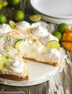 No Bake Key Lime Mango Coconut Cheese Cake Pie - Immaculate Bites