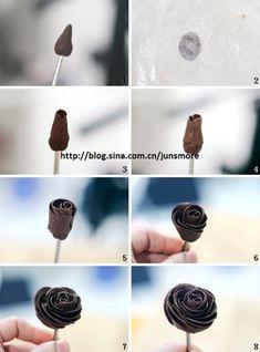 超详细步骤图---五种手工巧克力花的捏制方法