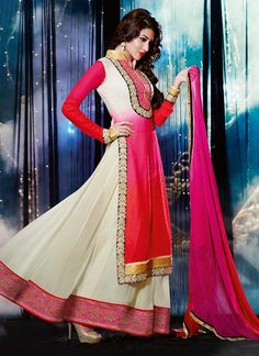 Off White And Red Embroidered Resham Work Georgette Anarkali Suit, Product Code :6800, shop now http://www.sareesaga.com/latest-off-white-and-red-embroidered-resham-work-georgette-anarkali-suit-6800  Email :support@sareesaga.com What's App or Call : +91-9825192886