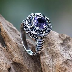 Handmade Balinese Cocktail Ring with Amethyst and 18k Gold - Kuta Lilac | NOVICA