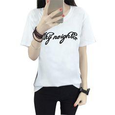 >> Click to Buy << Women T shirts Fashion Summer Short Sleeve Harajuku T-shirt Women Simple Black Female T-Shirt MO16 #Affiliate