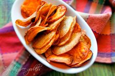Make your own potato chips. It's easy. These are gold and sweet potato chips. Vegan and gluten-free.