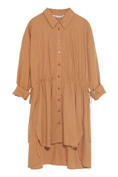 ZARA - Female - Long poplin shirt - Caramel - Xxl Modest Outfits, Modest Clothing, Zara Women, Hijab Fashion, Tunic Tops, One Piece, Shirt Dress, Model, Shirts