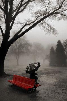 . park benches, colors, black white, thought, red umbrella, storm, feelings, rain, kisses