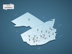 Isometric 3D Guatemala map, vector illustration with cities, borders, capital, administrative divisions and pointer marks; gradient blue background. Concept for infographic.