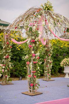 mandap decor, white mandap, pink canopy, white and pink floral decor