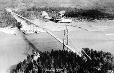 Biplane over Lions Gate Bridge, early Old Pictures, Old Photos, West Coast Canada, Lions Gate, North Vancouver, Historical Pictures, British Columbia, Bridges, Art Images