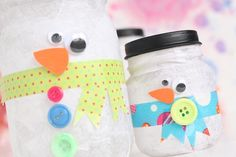 Snowman luminaries plus more snowman crafts for kids Mason Jar Christmas Crafts, Preschool Christmas, Noel Christmas, Christmas Crafts For Kids, Holiday Crafts, Kids Crafts, Jar Crafts, Preschool Crafts, Toddler Crafts