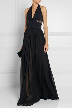 Elie Saab - Lace-trimmed Stretch-knit And Chiffon Gown - SALE20 at Checkout for an extra 20% off
