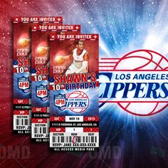 "2.5x6"" Los Angeles Clippers Sports Party Invitation, NBA Sports Tickets Invites, Basketball Birthday Theme Party by sportsinvites on Etsy"