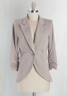 Fine and Sandy Blazer in Pebble. No need to roll up your sleeves before the big meeting - this one-button blazer boasts ruched 3/4-length sleeves for a look that means chic and functional business. #grey #modcloth