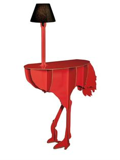 Ostrich console table with lamp - probably won't have to worry about your neighbors having the same furniture as you!