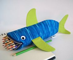 Tiger Shark Toy for Kids  Blue and Lime Green by minnebites