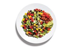 Taco Salad  4 oz lean ground turkey cooked with taco seasoning   1/4 cup black beans   2 Tbsp salsa   1 1/2 cups chopped romaine lettuce*   1/4 cup chopped yellow peppers  1/4 cup chopped tomatoes   2 Tbsp guacamole