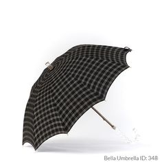 Umbrella ID 348   Black and White Plaid Umbrella   Thick Lucite Hook Handle   Bella Umbrella   Vintage Umbrella Rentals
