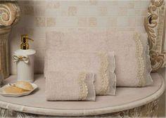 Bathroom Towels - Elegance, Drina#towel #bathroom #homedecor #gift #cotton #bamboo #beige #luxury #home #design