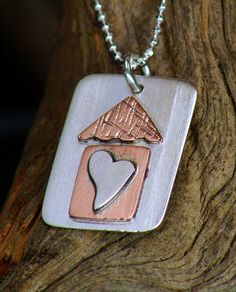 Sterling Silver and Copper Dog Tag Necklace Home by JewelryFusion, $45.00