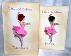Personalized Ballerina Birthday Card - greeting card, Ballerina Gift, Princess birthday , Little Girl Party