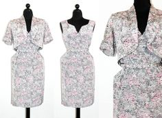 Vintage 1950s dress . Early Spring . silver grey and pink sheath dress and bolero . novelty print 50s dress . plus size by VoyeurVintage on Etsy