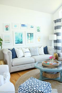 Coastal Style Blue and White Living Room Lakehouse Living Room Makeover Reveal for the One Room Challenge -3