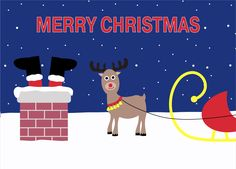 Rudolph Rooftop Christmas Card