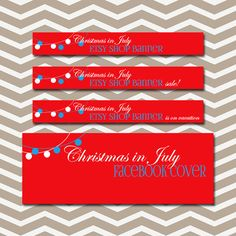 Christmas in July Etsy banner set Red and by PolkaDotSquareDesign, $25.00