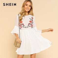 efee4f3aa56 SHEIN Ruffle Flower Embroidered Smock Dress Women Round Neck Half Sleeve  High Waist Dress 2018 Flare Sleeve Loose Short Dress