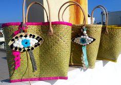 raffia/summer bag/ straw bag/ boho bag/ pom pom  bag/shopping bag/beach bag / handmade/aelia /madagaskar bag by aeliasandals on Etsy